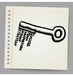 A key with words business doodle concept vector image vector image
