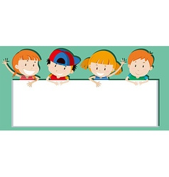 Children holding empty sign vector image vector image