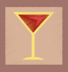flat shading style icon martini glass vector image vector image