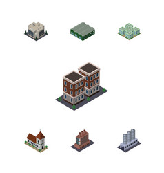 isometric urban set of water storage house vector image vector image