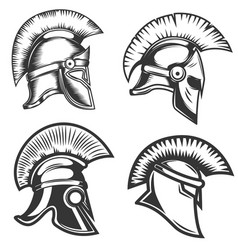 set of spartan helmets isolated on white vector image vector image