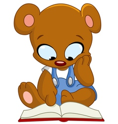 teddy bear reading book vector image vector image