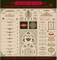 Calligraphic vintage elements baroque set vector image vector image
