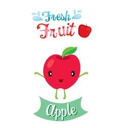Cute Cartoon Of Apple Fruit Banner Logo vector image vector image