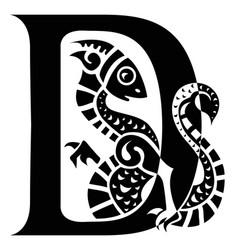Gargoyle capital letter d vector