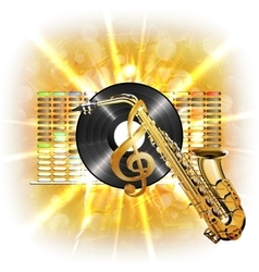 music in flash treble clef vinyl sax vector image