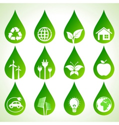Set of eco icons on water drops vector image