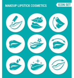 set of round icons white Makeup lipstick vector image vector image