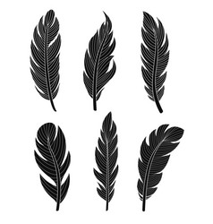 set of six elegant silhouette vector image