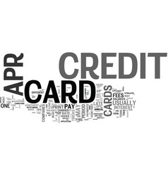 apr credit cards ok what s the catch text word vector image