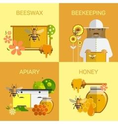 Bee honey organic farm concept vector image vector image