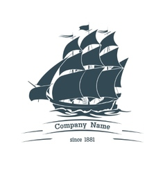 Big sail ship logo icon vector image
