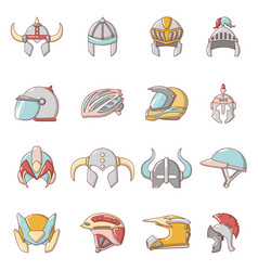 helmet icons set cartoon style vector image