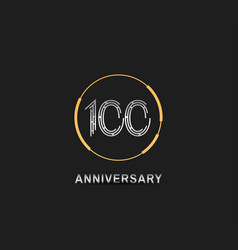 100 anniversary logotype with silver number vector