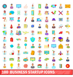 100 business startup icons set cartoon style vector image