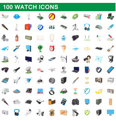 100 watch icons set cartoon style vector