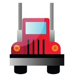 a front view a big red truck on white vector image
