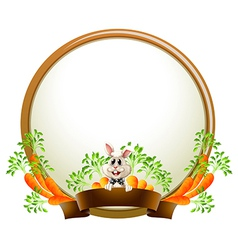 A round empty template with a rabbit vector image
