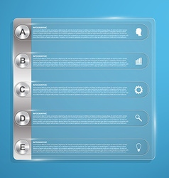 Abstract glass plate business options infographics vector image