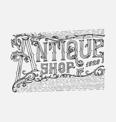 antique frame label vintage card shop badge vector image