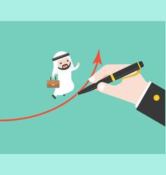 arab businessman run on graph which big hand vector image