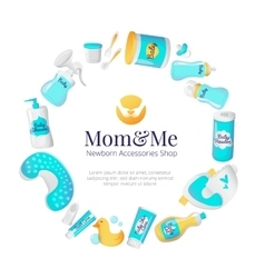 Baby accessories frame newborn goods vector