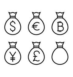 Bags with money thin line icon vector
