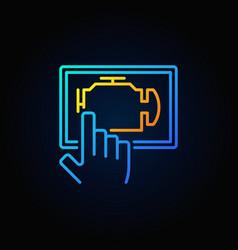 blue car engine diagnostics via tablet vector image