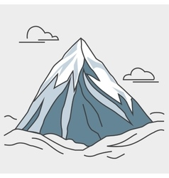 Blue mountain with clouds Snowy peak vector image