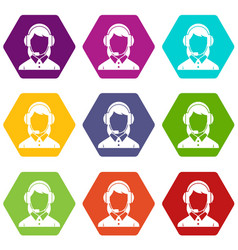 business woman with headset icon set color vector image