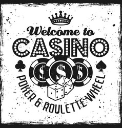 Casino black emblem with chips and dice vector