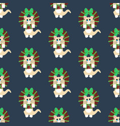 cat in christmas wreath pattern vector image