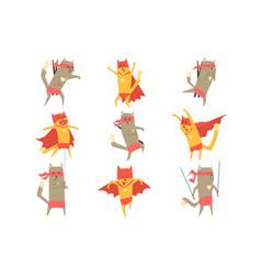 cat superhero character set vector image