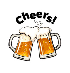Cheers text two toasting beer mugs clinking vector
