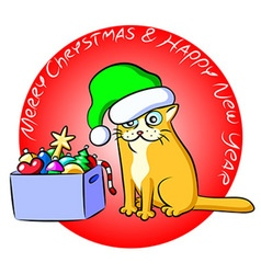 Christmas Cat and a Box of Toys vector