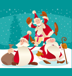christmas design with cartoon santa claus and snow vector image