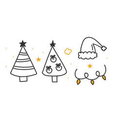 Christmas tree santa hat garland doodle icons vector