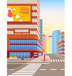 cityscape road with pedestrian crossing zebra sign vector image