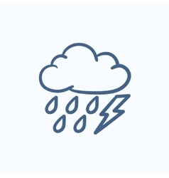 Cloud with rain and lightning bolt sketch icon vector image