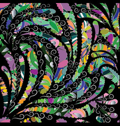 colorful floral paisley seamless pattern vector image