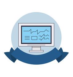 computer screen technology round emblem vector image