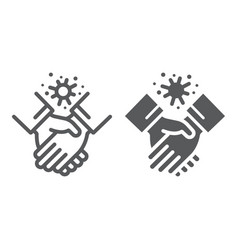 Contagion handshake line and glyph icon virus and vector