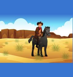 cowboy riding a horse vector image