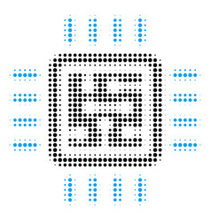 cpu circuit halftone icon vector image