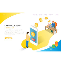 cryptocurrency transfer landing page website vector image