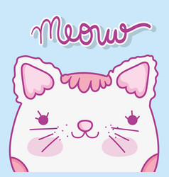 Cute cat head with hair and whiskers vector