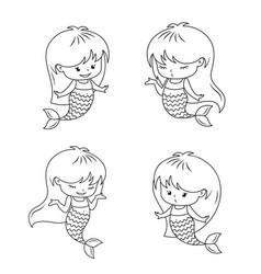 Cute little mermaid babies set vector