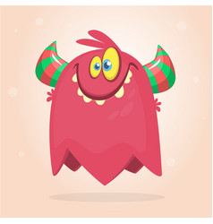 Cute red and horned cartoon monster vector