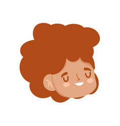 cute woman face character cartoon isolated design vector image