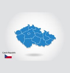 czech republic map design with 3d style blue vector image